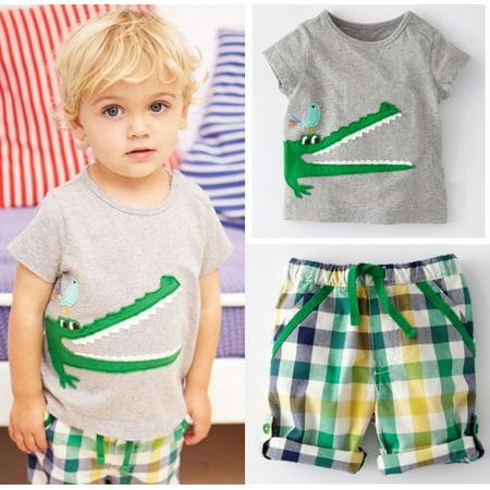 Baby Kids Boys Clothes 2pcs Set Cartoon Tops T-shirt Pants Summer Outfits - Cartoon Outfit