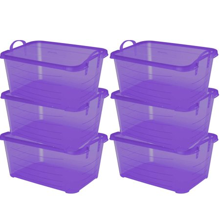 Life Story Purple Stackable Closet & Storage Box 55 Quart Containers (6 Pack) (Purple Storage Bins)