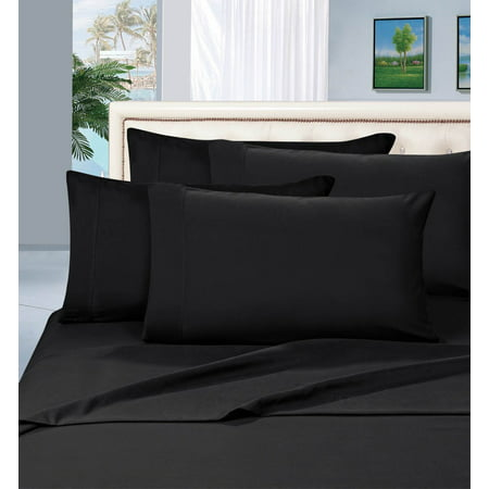 Blue Silk Linen - Celine Linen ®Supreme 1500 Collection 4pc Bed Sheet Set - All size and Colors  , Queen Black