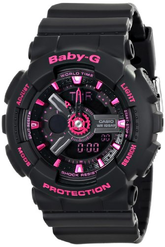 Women's BA-111-1ACR Baby-G Analog-Digital Display Watch (Black )