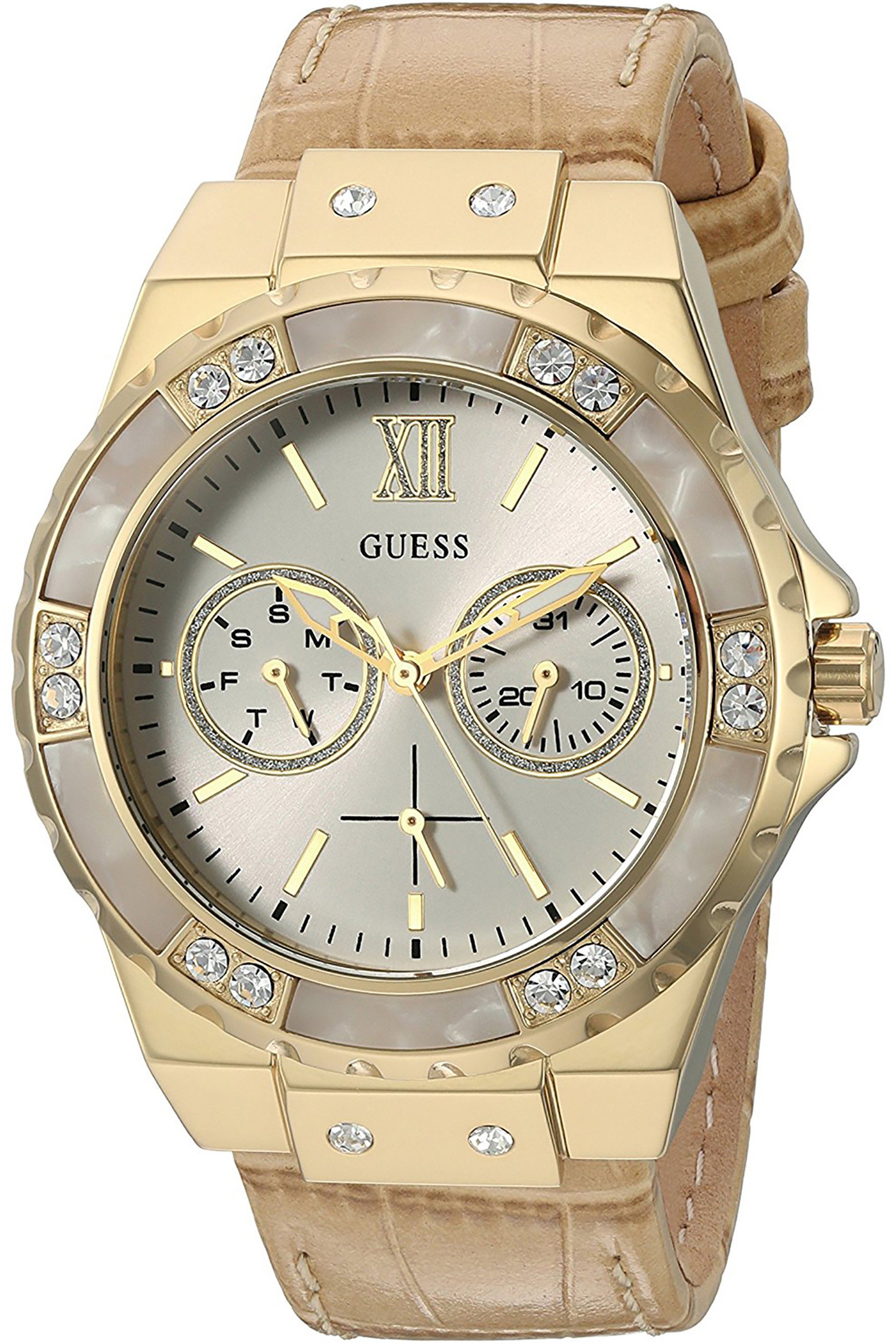 W0775L2,Ladies Multi-function,gold tone,leather strap,Crystal Accented Bezel,50m WR