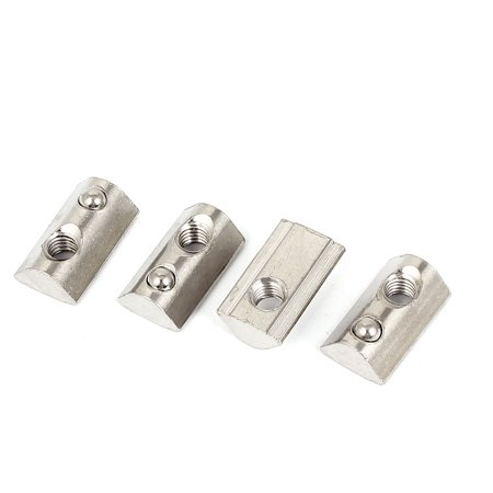 Rohl Nuts - 4pcs M6 40 Series Metal Half Round Roll in T-slot Spring Nut w Ball