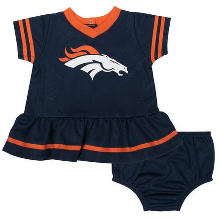 NFL Denver Broncos Girls Dress and Diaper Cover Outfit Set, - Broncos Outfit