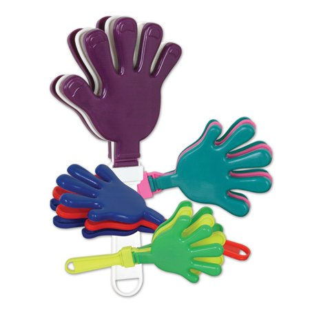 Club Pack of 12 Exciting Colorful Hand Clapper Party Favor Decorations 7.5