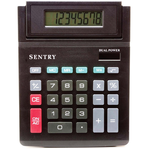 Sentry Tilt-Display Desktop Calculator, Black
