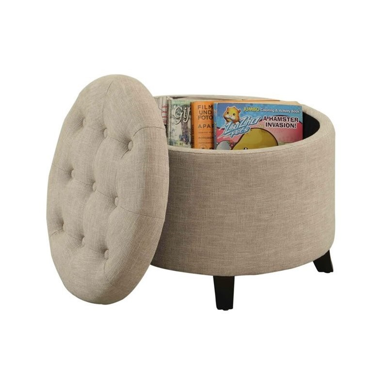Convenience Concepts Designs4Comfort Round Ottoman in Tan - image 4 of 4