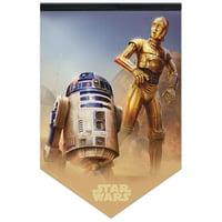 Official Star Wars Original Trilogy R2D2 and C3PO Felt Banner
