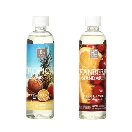 Cranberry Lovers Gift - Hosley Set of 2, Tropical Mist and Cranberry Mandarin Fragrance Warming Oils- 6oz. Ideal Gift for Weddings, spa, Reiki, Meditation, Bathroom Settings. O5