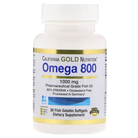 California Gold Nutrition  Omega 800 by Madre Labs  Pharmaceutical Grade Fish Oil  80  EPA DHA  Triglyceride Form  1000 mg  30 Fish Gelatin Softgels