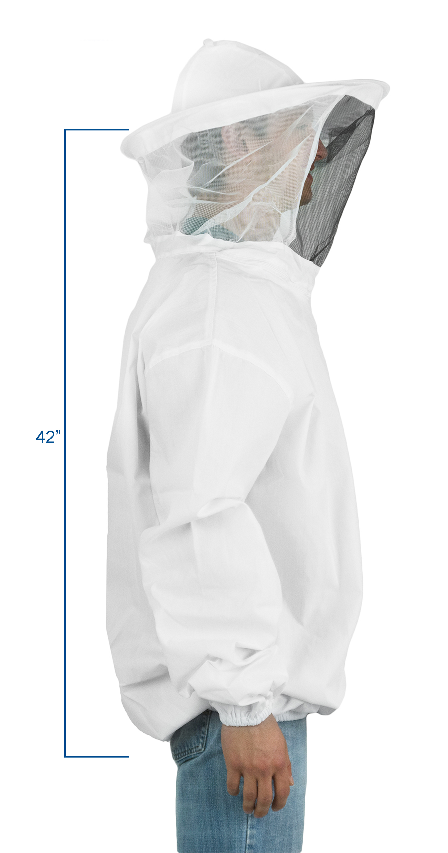 Protective Beekeeping Jacket Veil Bee Suit Hat Pull Over Smock Suits White