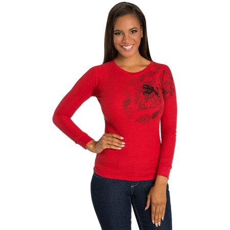 Sweet Vibes Junior Womens Thermal Tops Stretch Crew Neck Tee With Chain Print