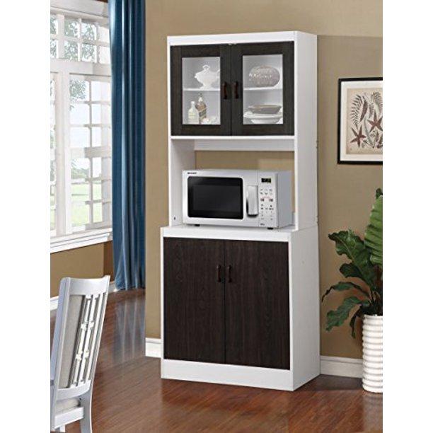 Home Source 157brd Tall Kitchen Cabinet With Solid Dark Brown Doors 29 X 16 X 72 Black Wood Walmart Com Walmart Com