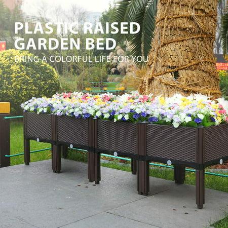 Plastic Raised Garden Bed Planter Kit Brown Set of 4 ()