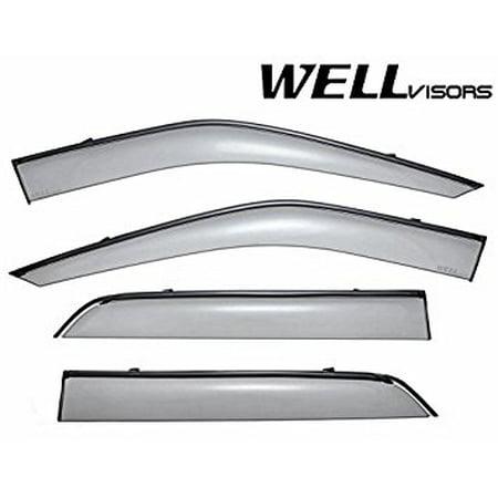 WellVisors Side Window Wind Deflector Visors - Ford Explorer 11-up 2011 2012 2013 2014 2015 2016 with Black