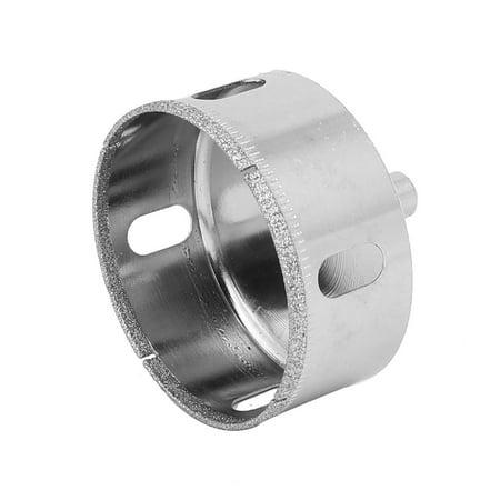 - 65mm Cutting Dia Diamond Coated Round Shank Glass Hole Saw Drill Bit Silver Tone