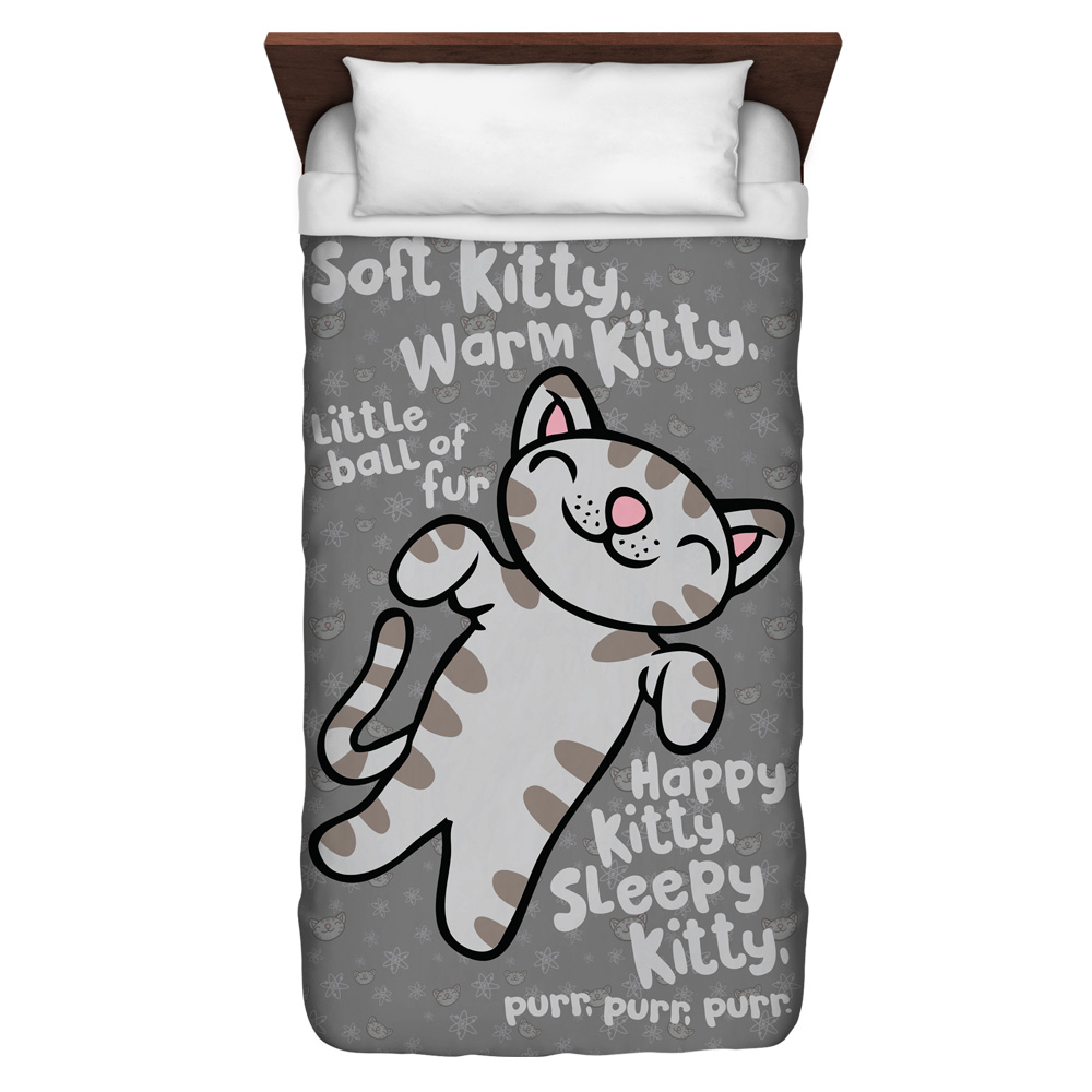 Big Bang Theory Kitty Twin Duvet Cover White 68X88