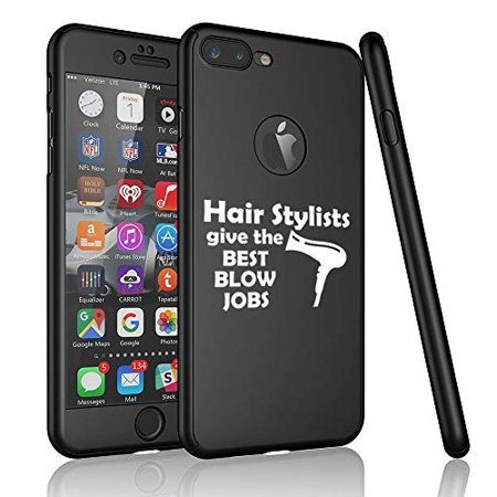 360° Full Body Thin Slim Hard Case Cover + Tempered Glass Screen Protector for Apple iPhone Hair Stylists Give The Best Blow Jobs Funny Hairdresser (Black, for Apple iPhone 6 /