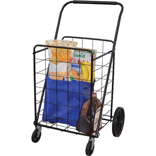 4-Wheel Super Deluxe Swiveler Shopping Cart, Black