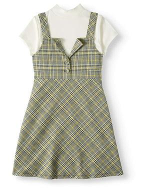 Wonder Nation Plaid Jumper Dress, 2-Piece (Little Girls, Big Girls and Big Girls Plus)