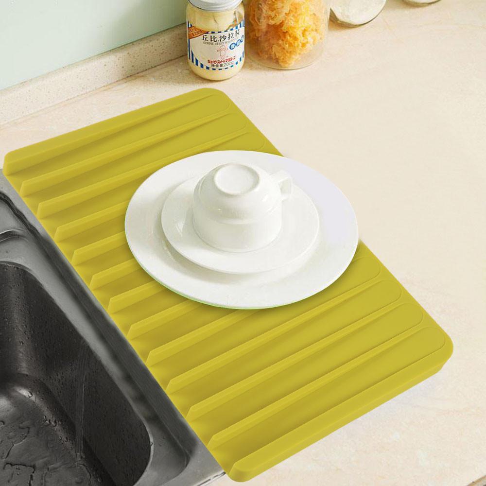Topeakmart Kitchen Dish Drying Mat Silicone Drying Mat Self Draining Sloped Slanted Trivet Dish Glassware,14.8 x 8.1'' Black
