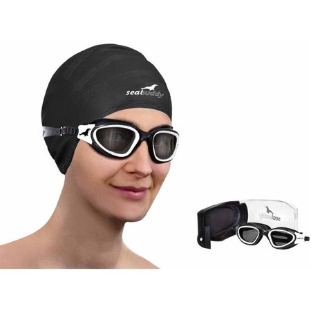 SealBuddy PV10 Swimming Goggles Panoramic View Anti-fog and Scratch Resistant Lens with