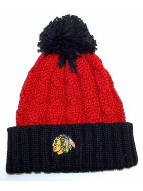 b07ed265e5e Product Image Reebok Chicago Blackhawks Women s Cuffed Knit Hat With Pom  One Size Fits Most