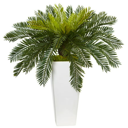 Nearly Natural Cycas Artificial Plant in White Planter