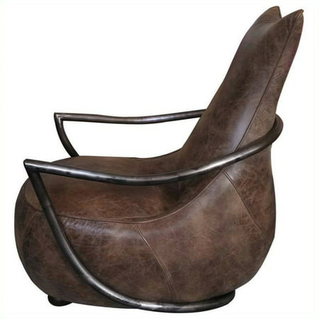 Moes Carlisle Leather Club Chair In Brown