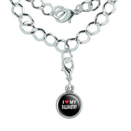 I Love My Bullmastiff Stylish Silver Plated Bracelet with Antiqued - Bullmastiff Jewelry