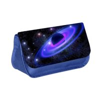 """Cosmic Galaxy -Boys / Girls 13"""" x 10"""" Blue Pencil Case with 2 Zippered Pockets and Velcro Closure"""