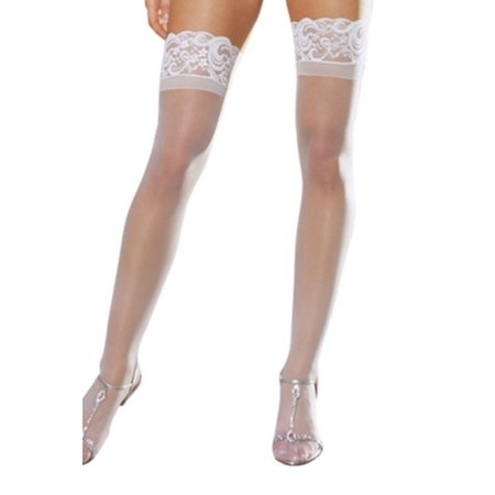 White Sheer Thigh High with Lace Top 7030-W White - Lace Thigh Highs