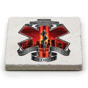 EMT Red High Honor EMS Tribute Single Natural Stone Coaster