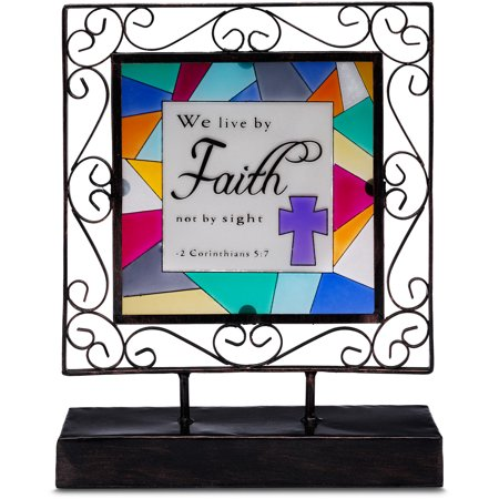 Pavilion-   We live by Faith not by sight - 2 Corinthians 5:7 Cross Sun Catcher Glass Plaque on Stand Religious Gifts