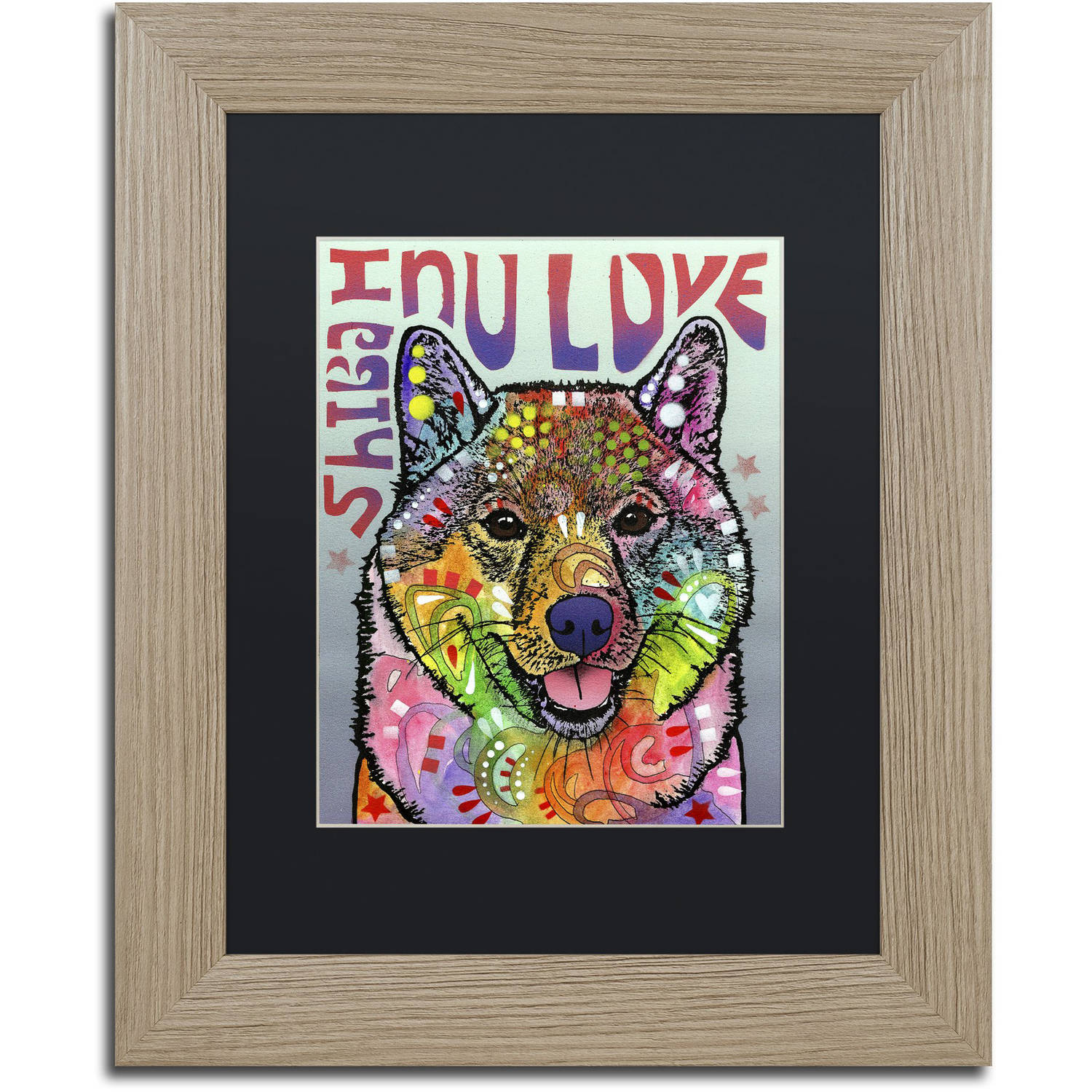 Trademark Fine Art 'Shiba Inu Luv' Canvas Art by Dean Russo, Black Matte, Birch Frame