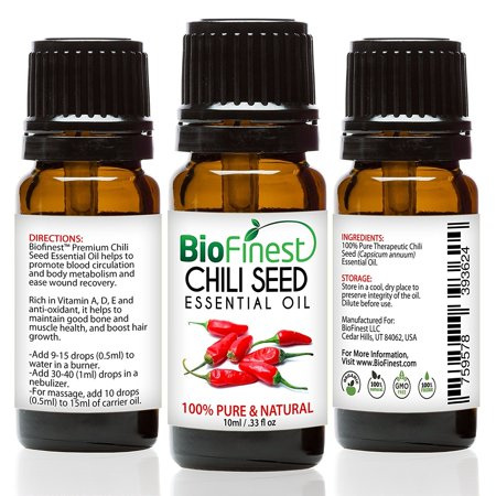 Biofinest Chili Seed Essential Oil - 100% Pure Organic Therapeutic Grade - Best For Aromatherapy & Massage - For Better Sleep At Night- FREE E-Book & Dropper (Best Oil For Feet Massage)