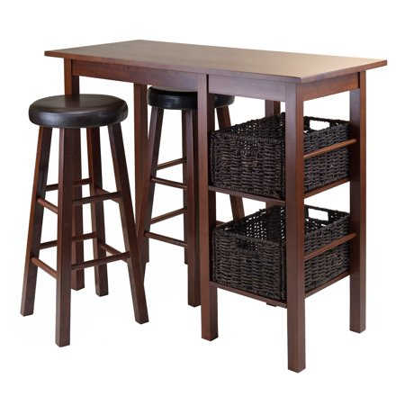 Winsome Wood Egan 5pc Table w/ Cushion Seat Bar Stools and 2 Baskets ()