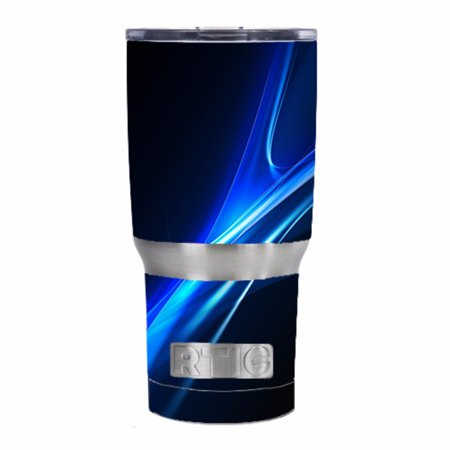 (Skin Decal For Rtic 20 Oz. Tumbler / Blue Curves, Soundwaves)
