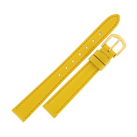 Hadley Roma LS707 14mm Ladies Yellow Stitched Genuine Calfskin Watch Strap 14mm Ladies Watch Band