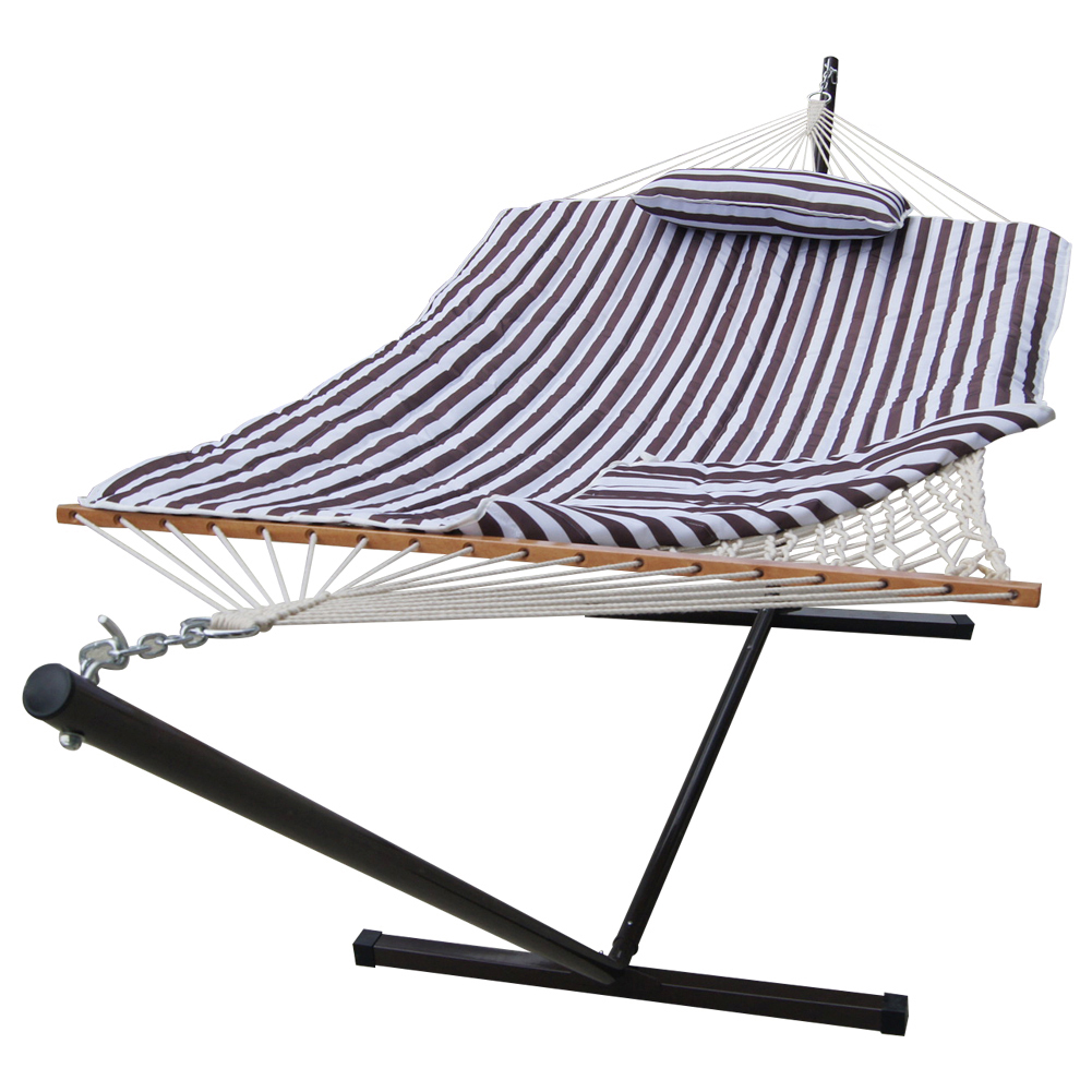 Sundale Outdoor Stripe Cotton Rope Hammock with 12 Feet Steel Stand, Quilted Polyester Pad and Pillow