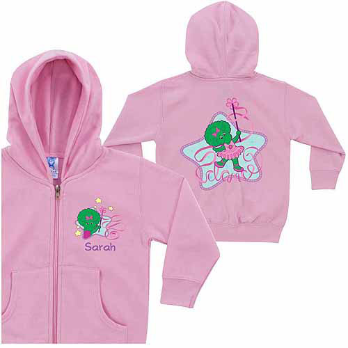 Personalized Barney Baby Bop Dance Little Girls' Pink Zip-Up Hoodie