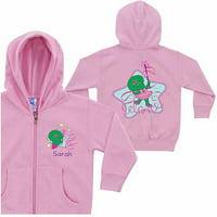 Personalized Barney Baby Bop Dance Little Girls' Pink Zip-Up Hoodie