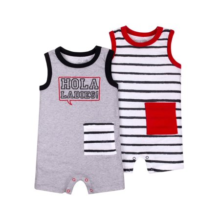 Green Sprouts Organic Terry - 100% Organic Cotton Sleeveless One Piece Romper, 2-pack (Baby Boys)