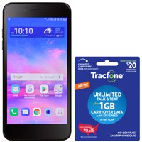 Tracfone LG Rebel 4 LTE, 16GB Black - Grade A Refurbished Prepaid Smartphone with $20 Plan