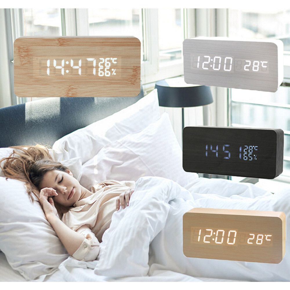 Digital LED Wood Wooden Desk Clock Alarm Snooze Voice Control Timer Thermometer by