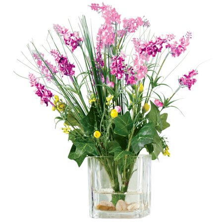 Wisteria Flowers Faux Artificial Bouquet Bush In Glass Vase Acrylic