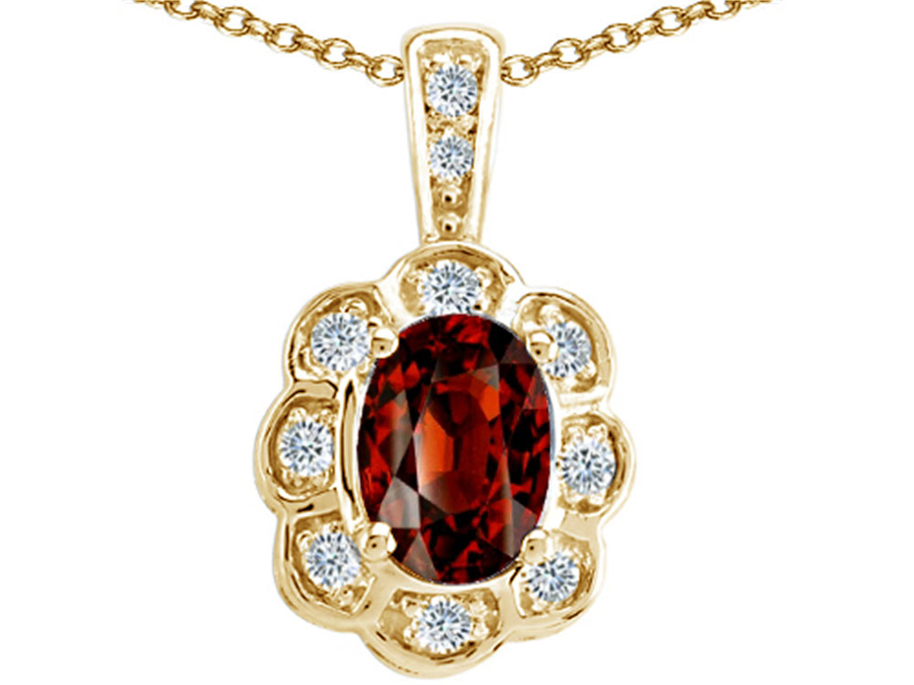 Tommaso Design Oval Genuine Garnet Pendant Necklace by