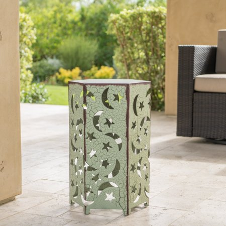 Clyde Outdoor 14 Inch Iron Moon and Stars Side Table, Crackle Green