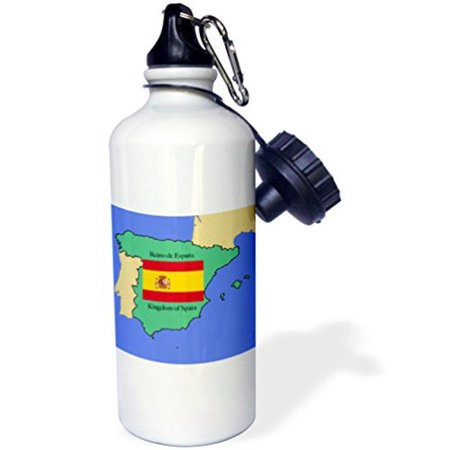 3Drose The Map And Flag Of Spain With The Kingdom Of Spain Printed In Both English And Spanish  Sports Water Bottle  21Oz