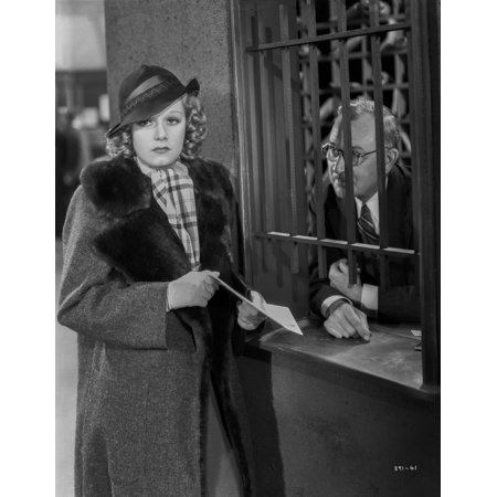 Jean Harlow Scene from a Film Posed in Black Tweed Linen Coat with Black Velvet Collar and Checkered White Scarf Photo Print Black And White Tweed Coat
