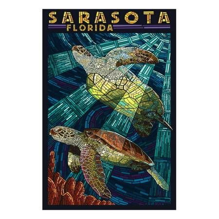 Sarasota, Florida - Sea Turtle Paper Mosaic Print Wall Art By Lantern Press - Mosaic Turtle